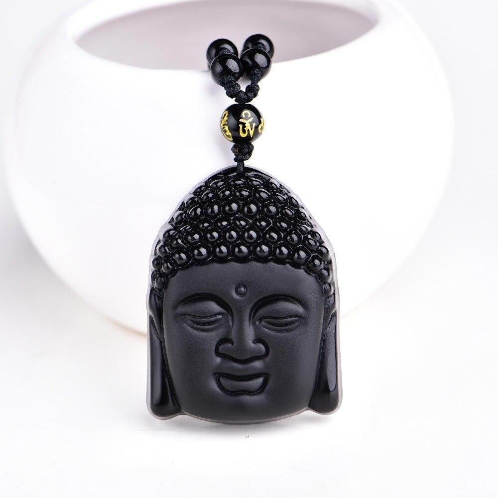 Prix pour Gros Naturel Obsidienne Gommage Pendentif Noir Tête de Bouddha Pendentifs Transbordées Bouddha Tête