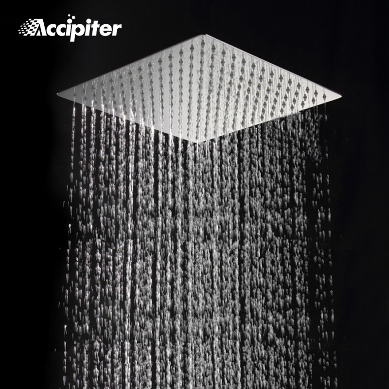 """8/"""" Square Slim Stainless Steel Rain Shower Head 16/'/' Wall Mounted Arm For Faucet"""