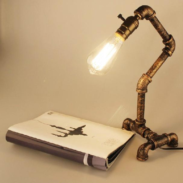 retro industrial bar cafe edison bulbs study creative personality wrought iron pipes desk lamp