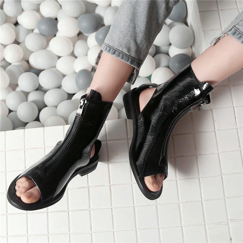 peep toe ankle boots low heel