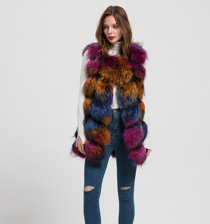 S1562 New 2016 Design Lady real raccoon fur vest or women winter new style gilet fashion