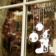Merry Christmas Bear Santa'S Stocking Hanging Window Wall Sticker Xmas Wall Decals For Shop Store Decorations 2016 New Year