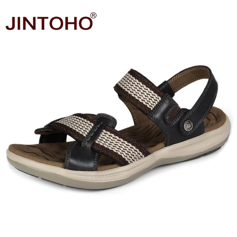 JINTOHO Summer Mens Sandals Fashion Beach Leather Sandals Big Size Male Leather Sandals Summer Beach Shoes