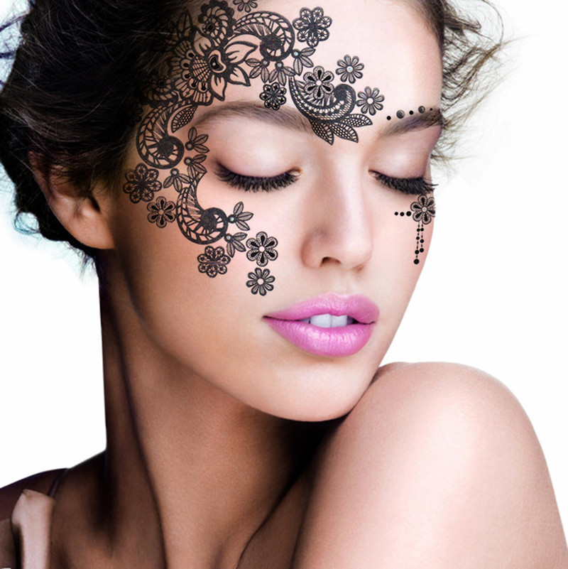 Henna Eye Tattoo: 2pcs/lot Halloween Henna Eye Sticker Silver Face Sticker