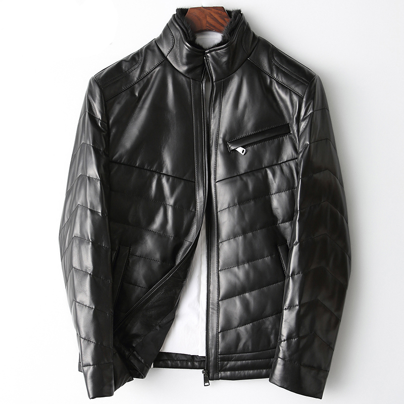 Leder Jacke Männer Winter Schaffell Unten Mantel Echtes Leder Unten Jacke Nerz Pelz Kragen Abnehmbar Kostenloser Versand Npi 90405b 100% Hochwertige Materialien