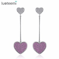 LUOTEEMI 2017 Luxurious Tiny Zircon Micro Pave Love Hearts Long Chain Dangle Earrings For Women Elegant Wedding Party Jewelry