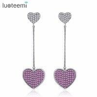LUOTEEMI 2017 Luxurious Tiny Zircon Micro Pave Love Hearts Long Chain Dangle Earrings For Women Elegant