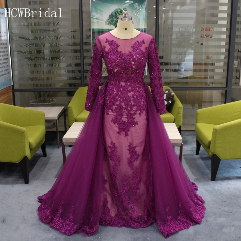 Graceful Purple Tulle Long Sleeve   Evening     Dress   Exquisite Beaded Lace Mermaid Detachable Train Prom Gowns Custom Made 2019 New