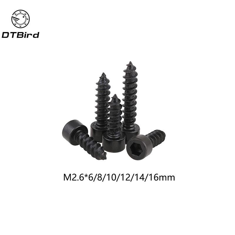 2.6MM Carbon Steel With Black <font><b>M2.6</b></font> Hexagon Socket Cap Head self tapping <font><b>screw</b></font> <font><b>M2.6</b></font>*(6/8/10/12/14/16) mm image
