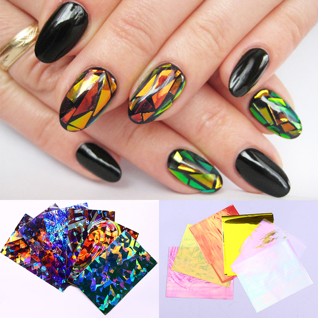 US $1 99 |3 Sheets Holo Nail Sticker Shell Glass Paper Nail Art Adhesive  Transfer Sticker Random Patterns-in Stickers & Decals from Beauty & Health  on