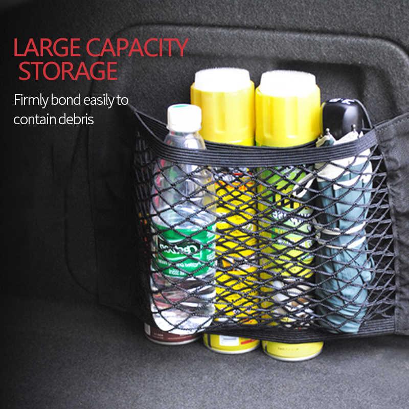 Accesorios de almacenamiento del organizador de red del maletero del coche bolso trasero del asiento Universal del bolso de la correa de la bota de tracción bolsillos SUV Auto cinta mágica