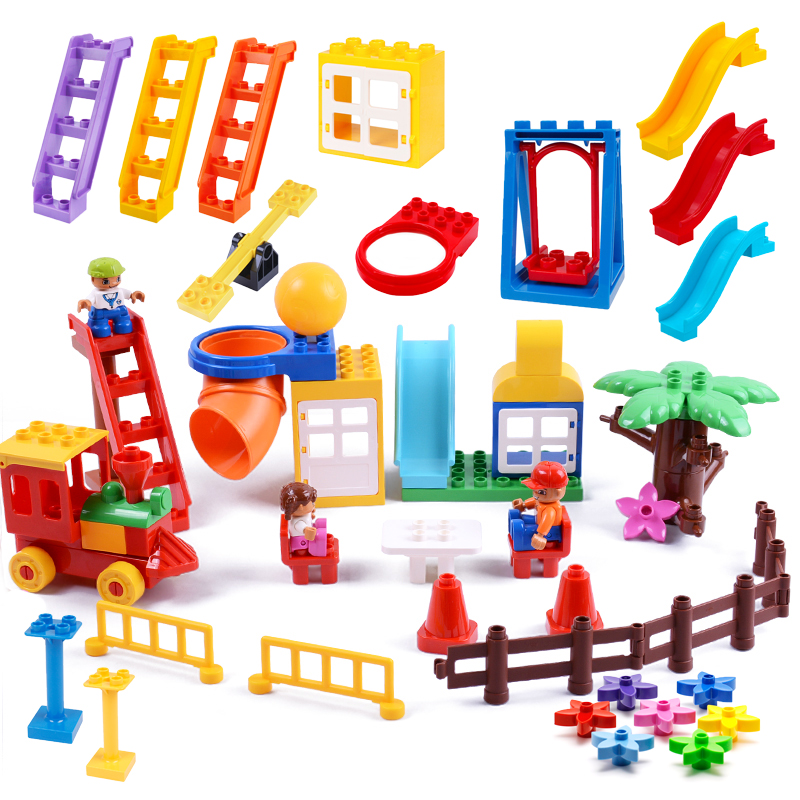 Playground Big Building Blocks Accessory Swing Slide Seesaw Assemble DIY Toys Children Gift Compatible With Duplo Animal Bricks