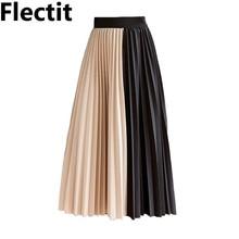 29f5e7df53 Flectit Color Block Pleated Skirt Women Cotton Elastic Waist Midi Length Accordion  Pleat Skirt 2019 Fall