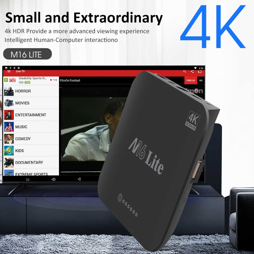 M16 Lite Mi Caixa de TV S Caixa de TV Android 7.1 K HDR Quad-core 2 4 GB DDR3 Inteligente controle De Caixa de TV IP TV Box Media Player