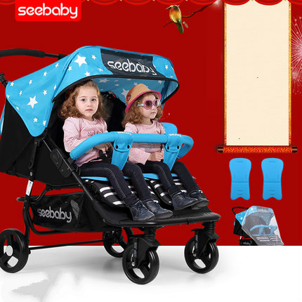 Carrinho de bebê gêmeo pode sentar mentira carrinho de gêmeos carrinho de criança gêmeo dobrado