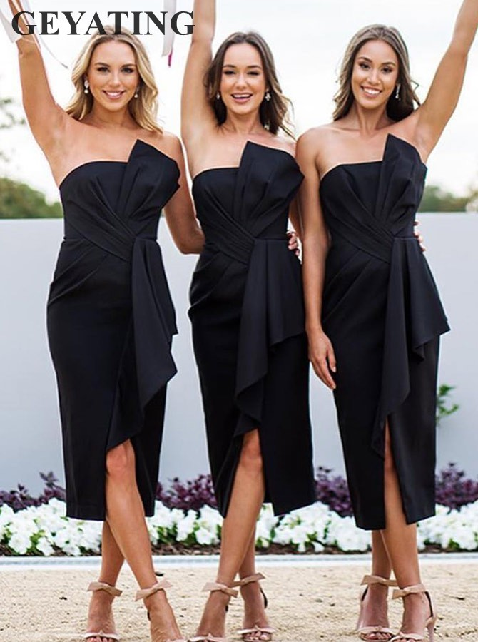 Elegant Sheath Strapless Black Satin   Bridesmaid     Dress   with Ruffles Split Tea Length Short Brides Maid of Honor   Dress   Guest Gowns