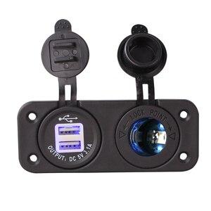 Морская USB мощность Автомобильный Мотоцикл лодка яхта зарядное устройство розетка панель двойная панель Вольтметр отверстия для сигарет универсальные аксессуары
