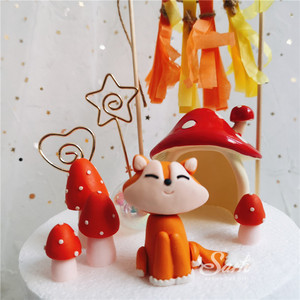 Image 5 - Ins Mushrooms Sitting Fox Cake Toppers Boy Girl Birthday Dessert Decoration for Childrens Day Party Suplies Lovely Gifts