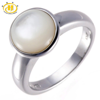 10MM Round Mother Of Pearl Solid 925 Sterling Silver Fashion Ring Fine Jewelry