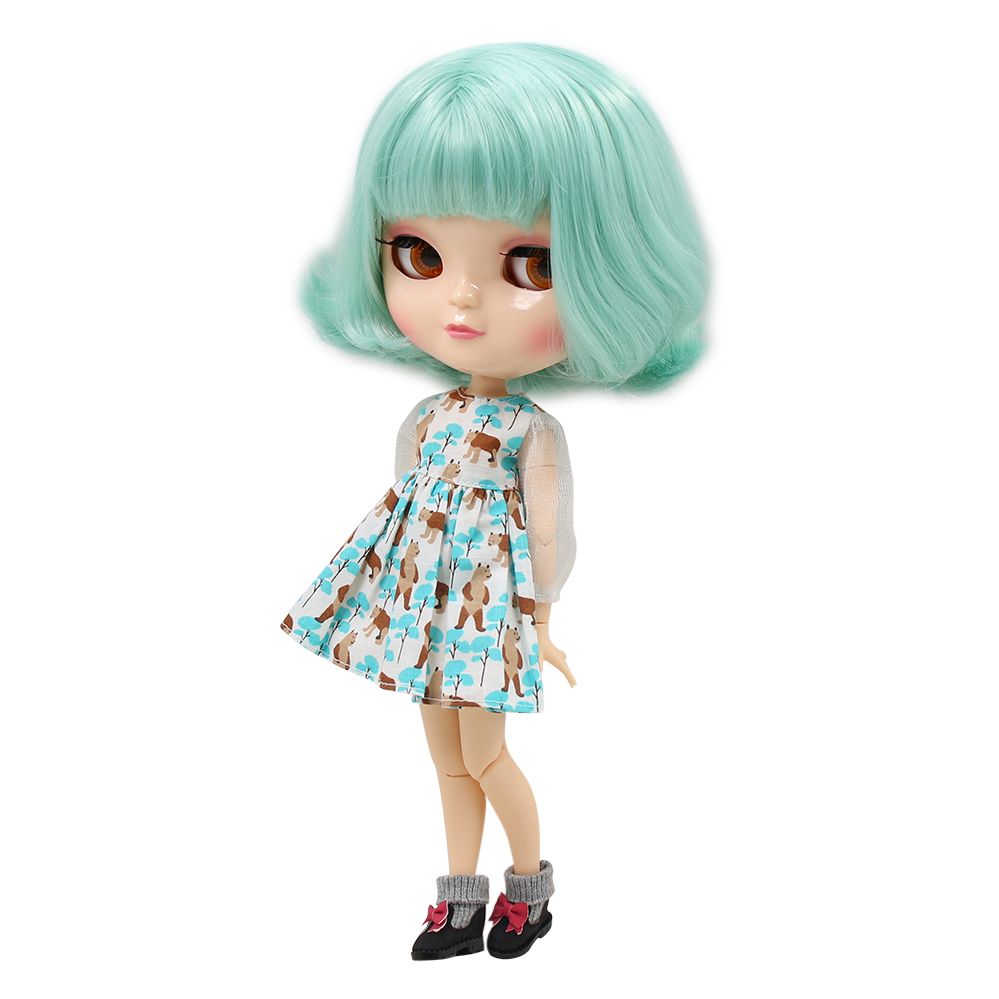 ICY DOLL with small breast azone body natural skin short mint green hair BL4006 1/6 30cm mint green casual sleeveless hooded top