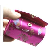 Random Color ! 1pc Double case Womens Silk Brocade Craft Lipstick Holder case with mirror Makeup Tools(China)