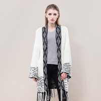 IANLAN Casual Knit Sweater Women Loose Shawl Style Pullover Ladies Knitwear Jacket Long Sleeve Cardigan with Tassels IL00071