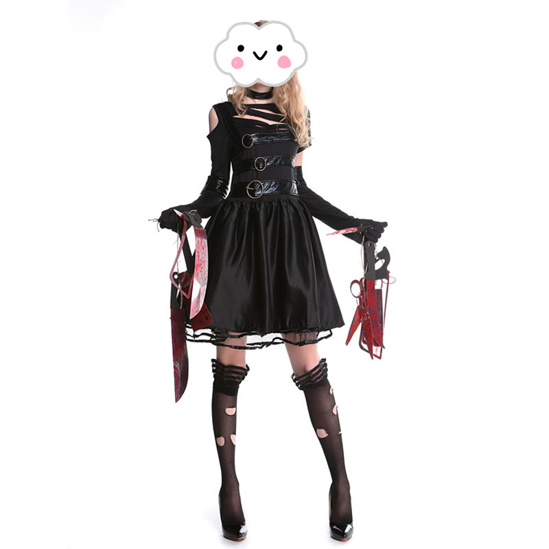 New Halloween Female Cosplay Adult Edward Dress Edward Scissorhands Cosplay Female Clothing Halloween Party Wear Costume Dress