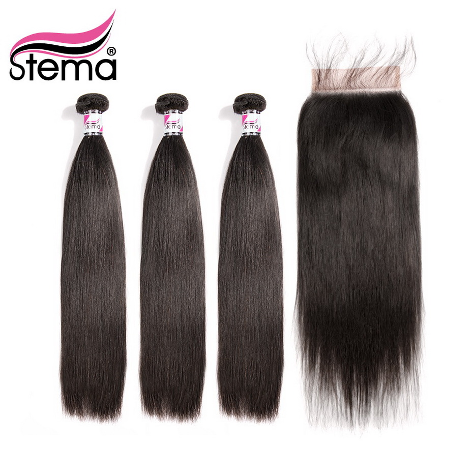 Stema Brazilian Straight Hair Bundles With Closure 3PCS Hair Weaves With 1PC 5x5 Lace Closure Remy