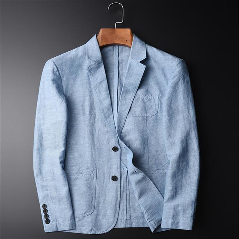 Summer New Casual Blazer Men Fashion Basic Blazer Slim Fit Blue Jacket Brand Blazer Coat Button Suit Men Jacket For Male A3646