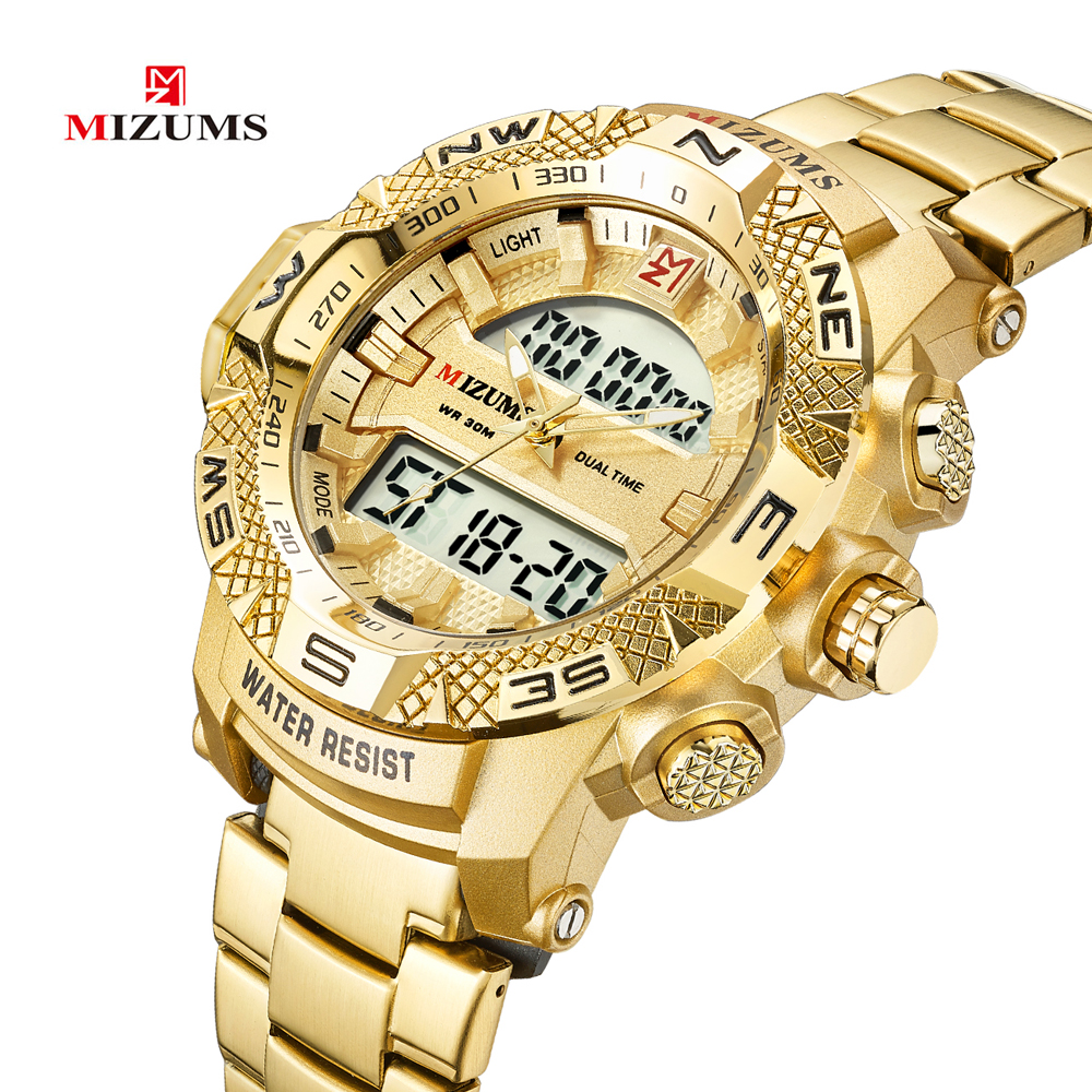Gold Watch Men LED Digital Sports Watches Man Waterproof Stainless Steel Band Luxury Brand Mizums Men's Quartz Wristwatch XFCS
