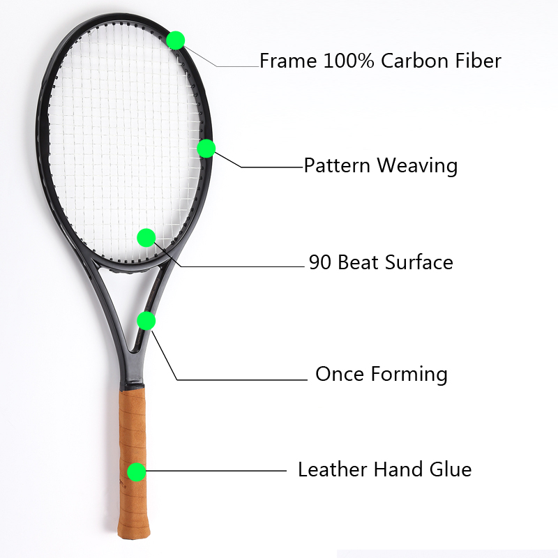 PS 90 zwarte Carbon Racket tennisracket Geschuimd handvat 4 1/4, 4 3/8, 4 1/2 met zak - 2