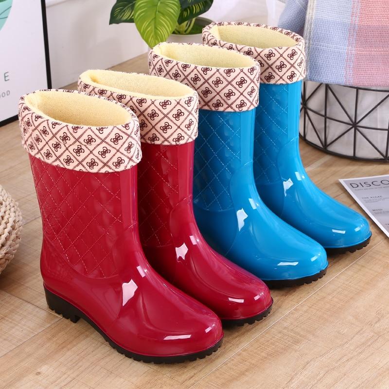 Women Winter Rain Boots Ankle Block Heels Boots Women Fashion PVC Middle Boots Waterproof Female Ladies Rainshoes Footwear