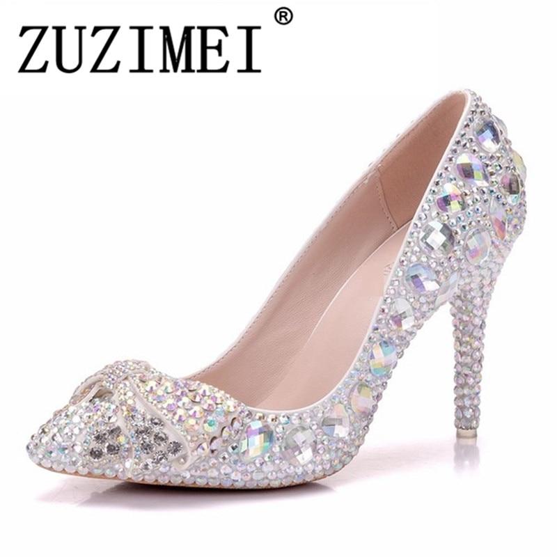 Wedding High Heels Sandals: High Heel Shoes Crystal Bridal Wedding Shoes Diamond