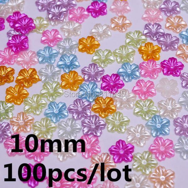 100db / tétel 10mm vegyes színek virág utánzás gyöngy gyöngyök gyöngyök telefon DIY esküvői és ruházati dekoráció kiegészítők