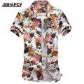 Plus Talla para Hombre Floral Hawaiano Camisa Moda 2017 Verano Manga Corta de Algodón Camisas Casuales Para Hombre Vestido de Camisa Masculina MXB0252