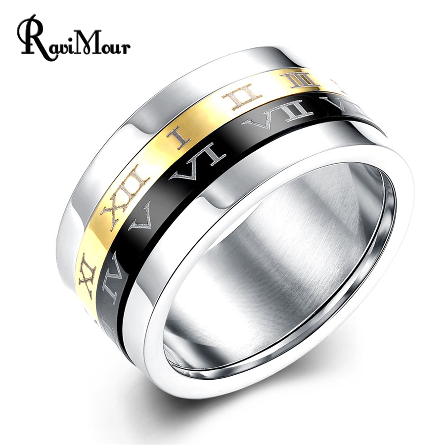 RAVIMOUR 316L Stainless Steel Rings Men Jewelry Rotatable Roman Numerals Silver Color Spinner Anel Masculino Punk Bague Bijoux