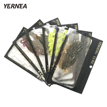 цена Yernea 60Pcs/Lot 1.3g 6 Colors Worm Soft Fishing Lure Screw Tail Velvet False Bait T Tail Soft Bait Fishing Gear Smell Soft Bait онлайн в 2017 году