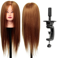 24Inch 80% Real Human Hair Training Head Hairdresser Hairdressing Mannequin +Clamp Holder Training Head Mannequin
