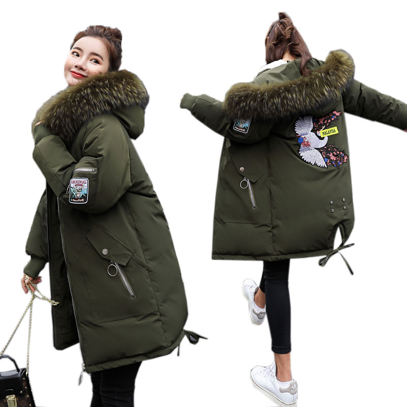 9e21a3501 Chaqueta de invierno de talla grande para mujer chaqueta de Parka larga  gruesa abrigo de invierno con capucha de piel grande chaquetas de algodón  para mujer ...