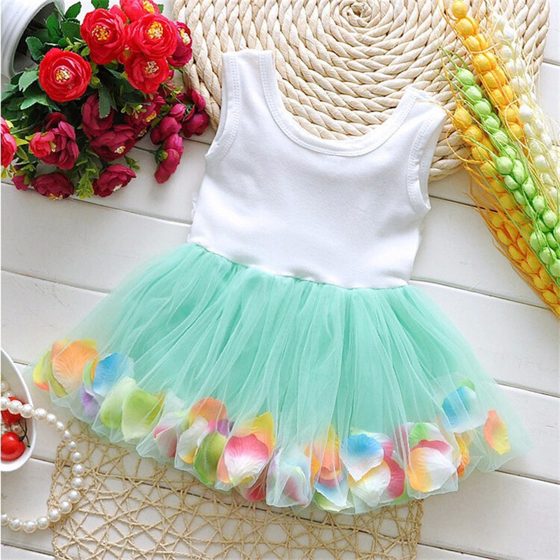 Infant Baby Girl Clothes Easter Party Wedding Christening Formal Clothes Mini Dresses For Infant 7-24M Blue Pearls Pattern (2)