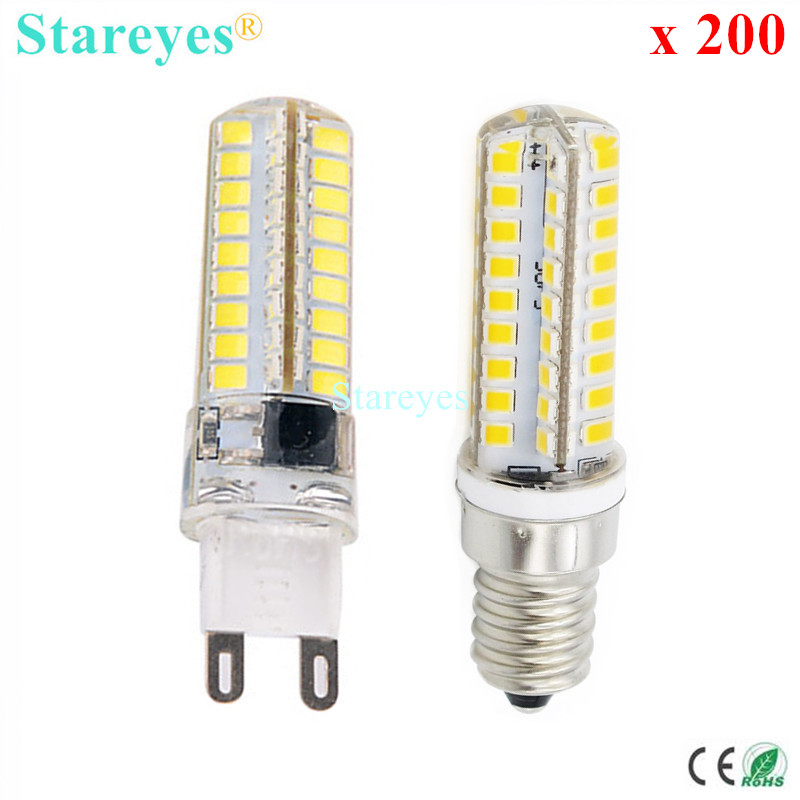 200 Pieces Silicone G9 E14 10W SMD 2835 72 LED Dimmable LED Corn lamp Droplight Chandelier candle bulb Pendant light lighting