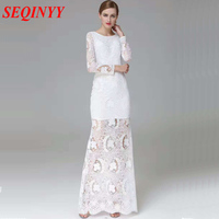 Sexy Dress Backless Vintage New Fashion 2017 3 4 Sleeve Embroidery Lace Hollow Out Appliques White