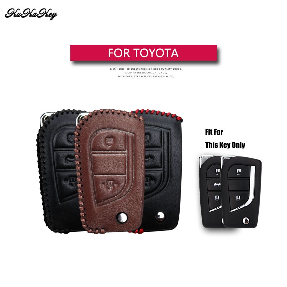 Genuine Leather Flip Folding Car Key Case Cover For Toyota Yaris Camry Corolla Prado REIZ Crown RAV4 Hilux Shell Bag For Toyota new 2 buttons 3 buttons modified flip folding remote key case shell for toyota camry corolla reiz rav4 crown key fob cover