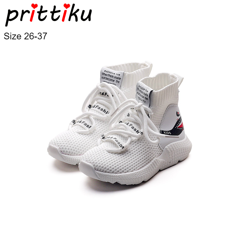 все цены на Autumn 2018 Boys Girls Knitted High Top Sock Sneakers Children Cartoon Fashion Casual Trainers Shoes Toddler/Little Kid/Big Kid