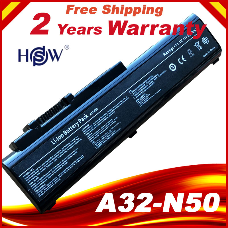 New 6 Cells Laptop Battery For Asus N50 N50VC N51 N51A N51S N51V,A32-N50 A33-N50 90-NQY1B1000Y Free Shipping