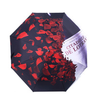 Romantic Unique Rose Petals Design High Quality Three fold Manual Sunny Umbrellas Wind Sunscreen Outdoor D5