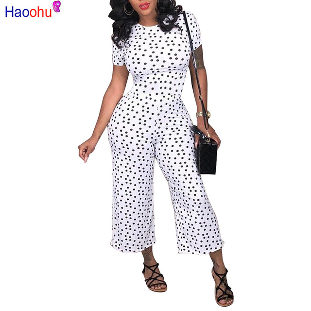 Haoohu Black White Polka Dot Sexy Jumpsuit Plus Size Casual Clothes