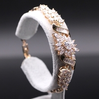 Luxury 18K Champagne Gold Plated Chain Link Bracelet For Women Ladies Shining AAA Cubic Zircon Crystal