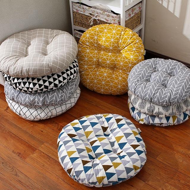 Japan Style Tatami Seat Cushion Geometric Figure Round Chair Seat Cushion  Reading Seat Cushion Grey Triangle