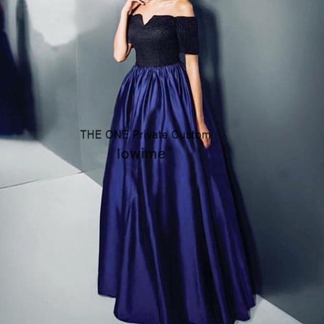 cd019f393 € 126.34 |Azul marino Falda Larga Superior Negro Simple Vestido de Fiesta  Formal Encaje Satinado elegante Africanos Vestidos de Baile 2017 Barato de  ...